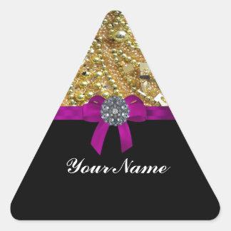 Oro reluciente y negro pegatina triangular