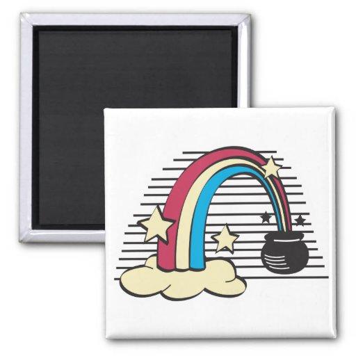 oro retro del arco iris y del pote o iman para frigorífico