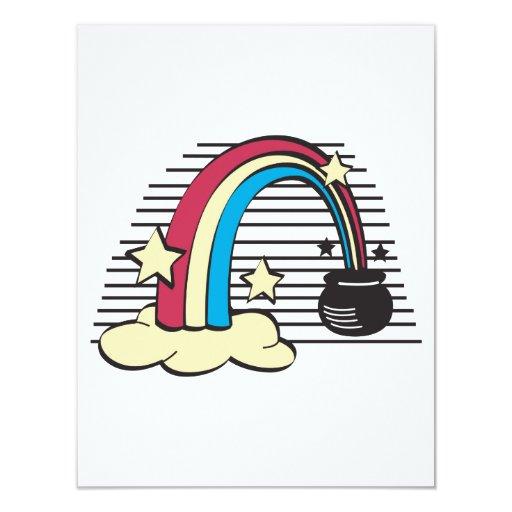 """oro retro del arco iris y del pote o invitación 4.25"""" x 5.5"""""""
