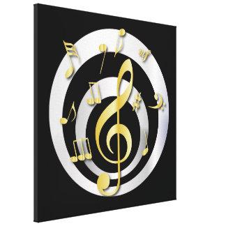Oro retro del efecto 3D y notas musicales de plata