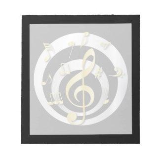 Oro retro del efecto 3D y notas musicales de plata Libreta Para Notas