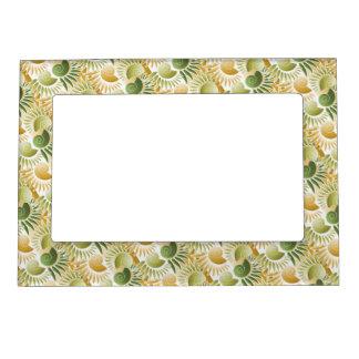 Oro retro elegante del art déco y tropical verde marcos magneticos de fotos