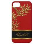 oro rojo de bambú asiático con clase elegante del  iPhone 5 Case-Mate cárcasa