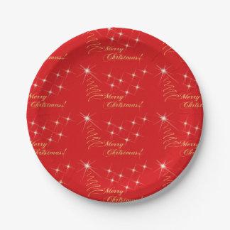 Oro rojo de las Felices Navidad estrellado Platos De Papel