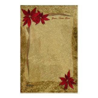 Oro rojo de los Poinsettias Papeleria De Diseño