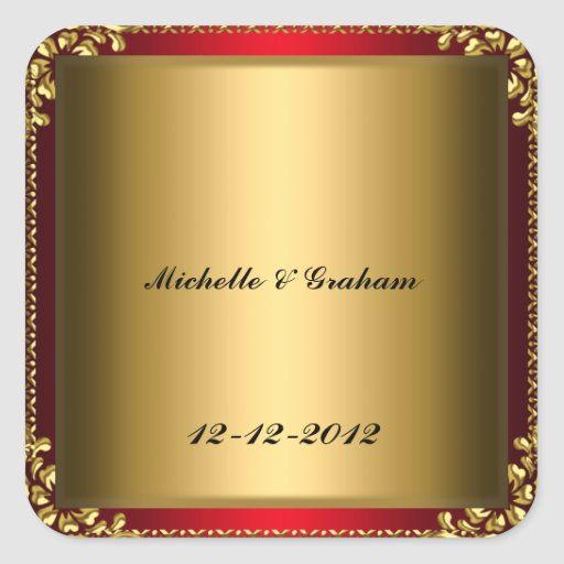 Oro rojo del rojo del pegatina del boda del oro