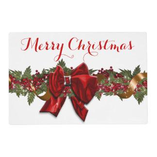 Oro rojo elegante de la guirnalda del navidad salvamanteles