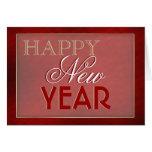 """Oro rojo elegante """"del Año Nuevo"""" Tarjeton"""