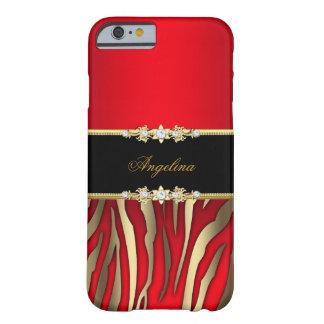 Oro rojo elegante del negro de la cebra funda de iPhone 6 barely there
