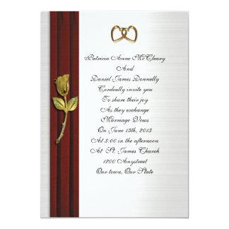 Oro rojo elegante del terciopelo de la invitación