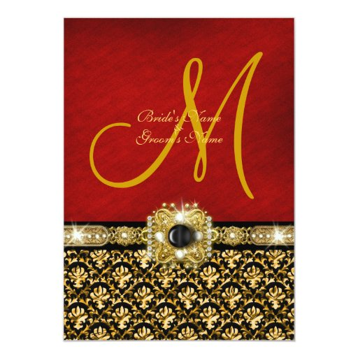 "Oro rojo negro ""boda elegante "" del damasco invitación 5"" x 7"""