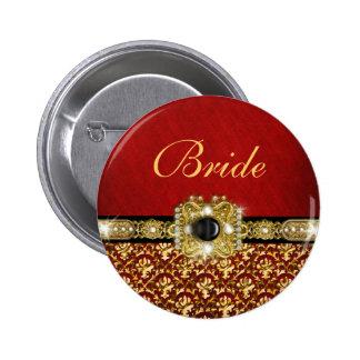 "Oro rojo negro elegante ""boda del damasco "" pin"