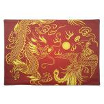 Oro rojo Placemats que se casa chino de Phoenix de Mantel