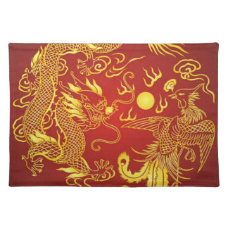 Oro rojo Placemats que se casa chino de Phoenix Manteles Individuales