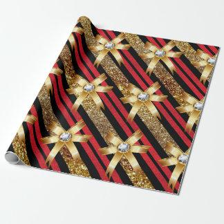 Oro rojo y falsos arcos negros del diamante del papel de regalo
