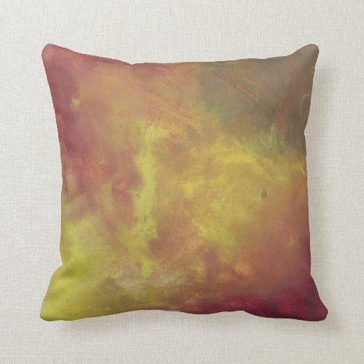 Oro rojo y pintura al óleo abstracta verde cojines
