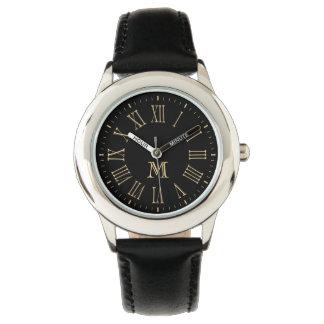 Oro romano del monograma relojes de pulsera