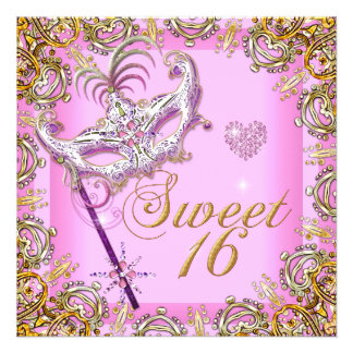 Oro rosado de la mascarada del dulce 16 del dulce invitación personalizada