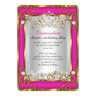 """Oro rosado del décimo quinto cumpleaños de invitación 5"""" x 7"""""""