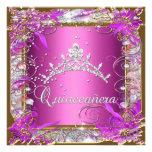Oro rosado del décimo quinto cumpleaños de Quincea Invitación Personalizada