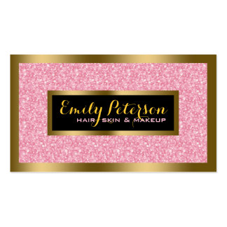 Oro rosado elegante del brillo y acentos negros tarjetas de visita