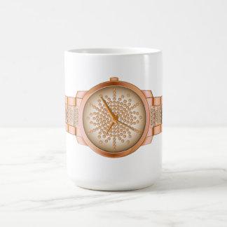 Oro rosado retro del diseño elegante del reloj taza de café