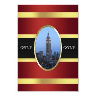 """Oro RSVP de Borgoña del Empire State Building 03 Invitación 3.5"""" X 5"""""""