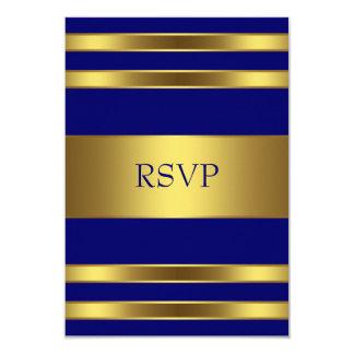 """Oro RSVP de los azules marinos Invitación 3.5"""" X 5"""""""