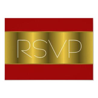 """Oro RSVP rojo metálico Invitación 3.5"""" X 5"""""""