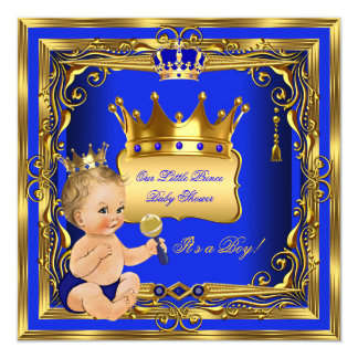 """Oro rubio del azul del muchacho del príncipe invitación 5.25"""" x 5.25"""""""