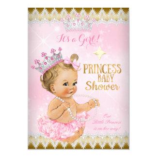 """Oro rubio del tutú del rosa de la princesa fiesta invitación 5"""" x 7"""""""