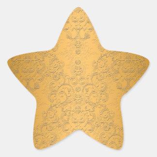 Oro simulado con diseño adornado grabado en reliev pegatinas forma de estrella personalizadas