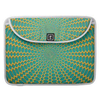 Oro sobre diseño radial del verde del trullo fundas macbook pro