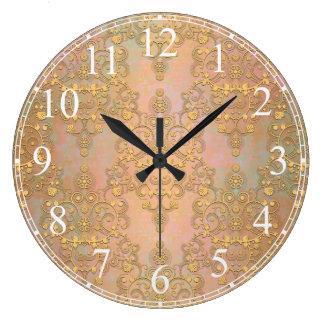 Oro sobre el damasco del cordón del estilo de la a reloj redondo grande