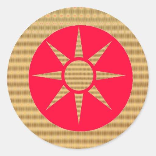 Oro Star2 Pegatina Redonda