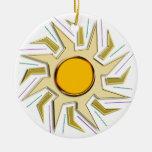 Oro Sun estupendo metálico Ornamento Para Arbol De Navidad