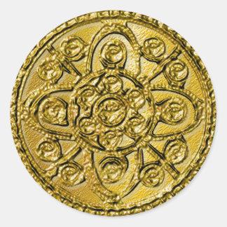 Oro texturizado afiligranado pegatina redonda