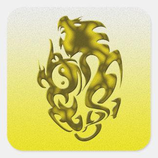 Oro torcido del dragón calcomanía cuadradas personalizada