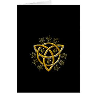 Oro Tri-quatra, acebo, y roble - carde #1A Felicitacion