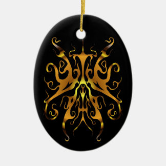 Oro tribal elegante del tatuaje en negro adorno navideño ovalado de cerámica