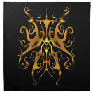 Oro tribal elegante del tatuaje en negro servilleta imprimida