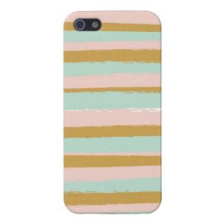 Oro, trullo y rayas rosadas de la pintura iPhone 5 cárcasas