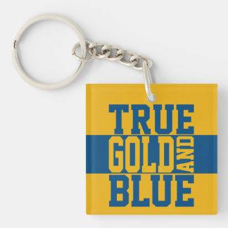 Oro verdadero y azul de WVU Llavero Cuadrado Acrílico A Doble Cara