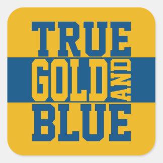 Oro verdadero y azul de WVU Pegatina Cuadrada