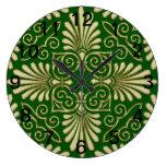 Oro verde 01 del damasco retro romántico del art d relojes de pared
