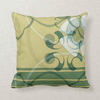 Oro, verde, americano abstracto blanco MoJo P del  Cojín