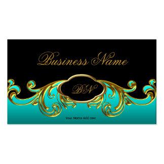 Oro verde azul del trullo negro con clase elegante tarjetas de visita