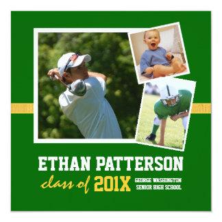 Oro verde de 3 fotos de la invitación deportiva de invitación 13,3 cm x 13,3cm