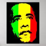 Oro verde de Obama y poster de la cara roja