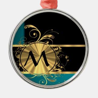 Oro verde del trullo y monograma negro adorno redondo plateado